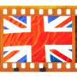Vintage old frame photo film with Union Jack — Stock Photo