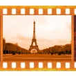 Vintage old 35mm frame photo film with Eiffel Tower in Paris,  — Stock Photo