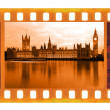 Vintage old 35mm frame photo film with Famous and beautiful view of Big Ben — Stock Photo #35403583