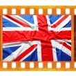 Vintage old 35mm frame photo film with UK, British flag,   — 图库照片