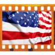 Vintage old 35mm frame photo film with USA flag — Foto Stock