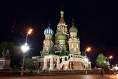 Night view of Intercession Cathedral St. Basil's on Red square, — Stockfoto