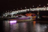 Beautiful Night View Moskva river with Patriarch Bridge — Stock Photo