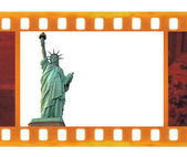 Vintage old 35mm frame photo film with NY Statue of Liberty, USA — Stock Photo