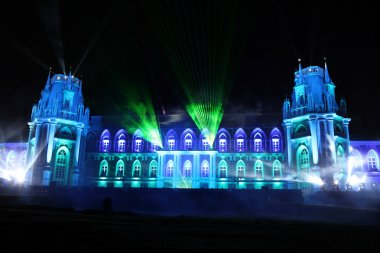 Night view of The palace Tsaritsyno history museum in Moscow