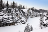 Winter snowfall in old marble quarry, Karelia, Russia — Stock Photo
