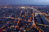 Famous Night view of Paris with the Seine river from the Eiffel — Stock Photo