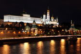 Famous and Beautiful Night View of Moskva river and Moscow Kreml — Stock fotografie