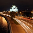 Beautiful Night View Cathedral of Jesus Christ the Saviour and Moskva river — 图库照片