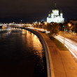 Beautiful Night View Cathedral of Jesus Christ the Saviour and Moskva river — Stock Photo #38093987
