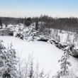Stock Photo: Winter in old marble quarry, Karelia, Russia