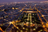 Famous and Beautiful night view to Paris from the Eiffel Tower — Stock Photo