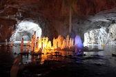 Stalagmite in deep marble cave, Russia — Fotografia Stock