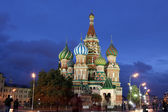 Night view of Intercession Cathedral St. Basil's on Red square — Stock Photo