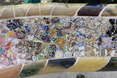 Mosaic in the park Guel in Barcelona, Spain — Stock Photo