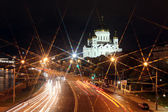 Beautiful Night View Cathedral of Jesus Christ the Saviour and Moskva river — Stock Photo