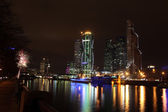 Famous and Beautiful night view Skyscrapers City international business center — Stock Photo
