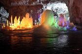 Frozen water Stalagmite in deep marble cave, Russia — Stok fotoğraf