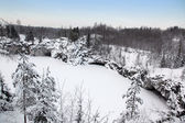 Winter in old marble quarry, Karelia, Russia — Stock Photo