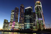 Beautiful night view Skyscrapers City international business center with Moskva river — Stock Photo