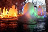 Stalagmite in deep marble cave, Russia — Foto de Stock
