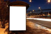 Blank sign at bus stop — Stock Photo