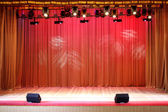 Theater stage red curtains — Stock Photo