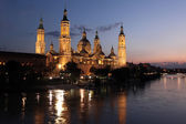 View of the basilica of the Virgen del Pilar and Ebro river, Zaragoza, Aragon, Spain — Stock Photo