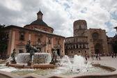 Turia Fountain in the Plaza de la Virgen Valencia Spain — Stock Photo