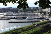 Boats moored in the old port of Oslo, Norway — Stok fotoğraf