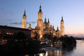Virgen del Pilar and Ebro river — Stock Photo