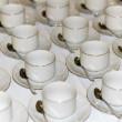Many rows of pure white cup and saucer — Stock Photo #43846225