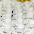 Many rows of pure white cup and saucer — Stock Photo #43846693