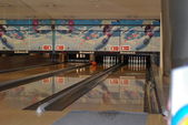 Inside shuts of the bowling center — Stock Photo