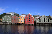 Old Storehouses in Trondheim, Norway — Stock Photo