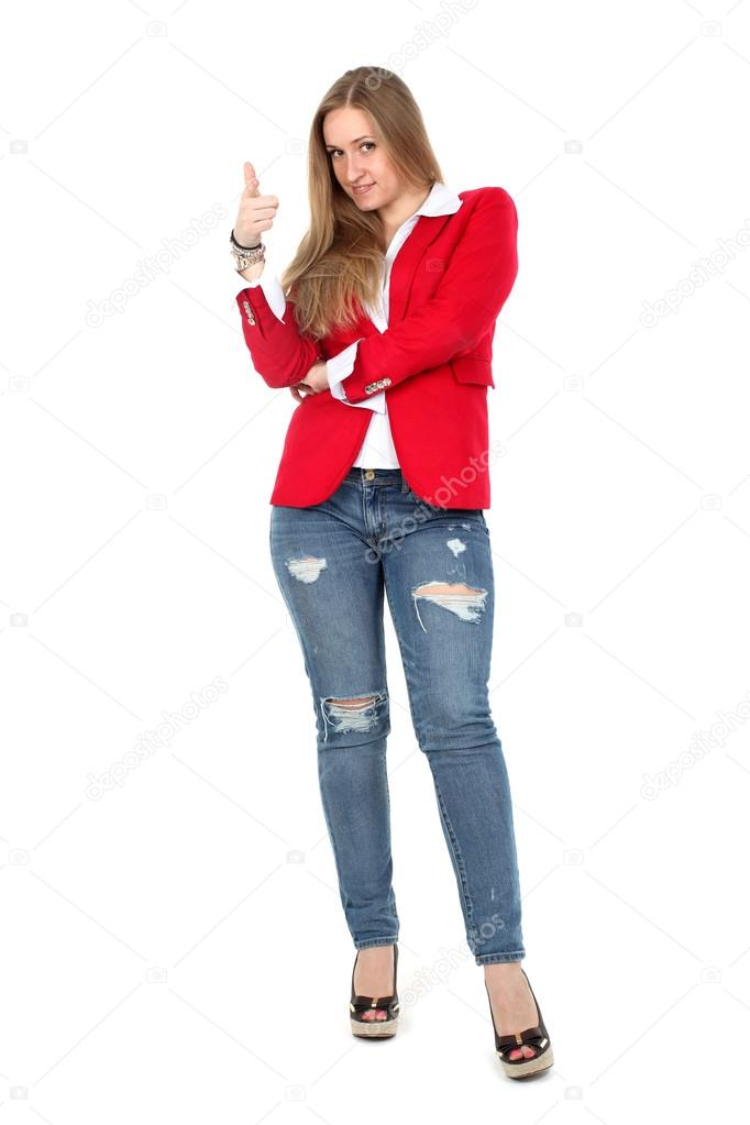 Casual woman in red coat smiling — Stock Photo © konstantin32