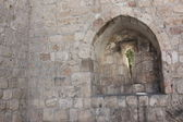 Brick window in Jerusalem — Stock Photo