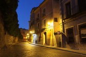 Night view of picturesque old square in Cuenca. Spain — Stockfoto