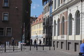 Street in old city of Riga, Latvia. — Foto de Stock