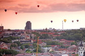 Vilnius with air balloons — Stock Photo