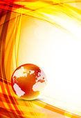 Orange background with globe — Stock Vector