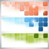 Set of banners with bright squares — Stock Vector