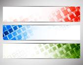 Kleurrijke banners met vierkanten — Stockvector