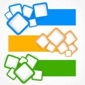 Ensemble de bannières avec des carrés — Vecteur