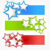 Set of banners with stars — Vecteur