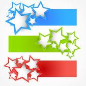 Uppsättning banners med stjärnor — Stockvektor