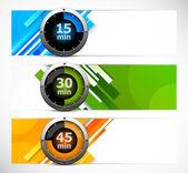 Set van banners met timers — Stockvector