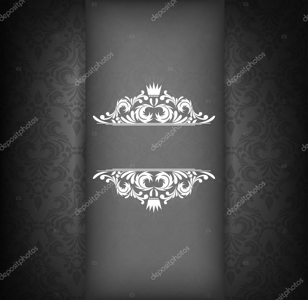 Damask design template in black color. Floral illustration  Imagens vectoriais em stock #13899619