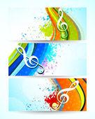 Uppsättning av musik banners — Stockvektor