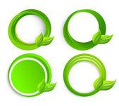 набор кругов с листьями — Cтоковый вектор